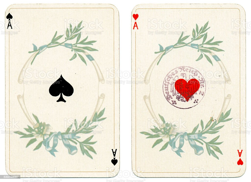 Ace of Hearts and Spades Dondorf Baronesse piquet 1900 stock photo