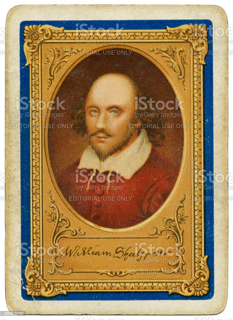 Shakespeare portrait Goodall playing card back tercentenary of death 1916 stock photo