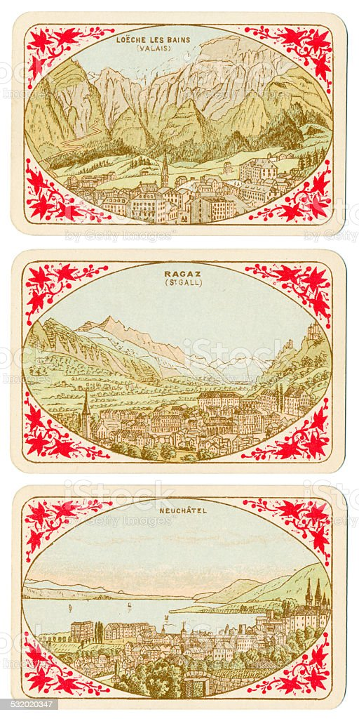 Playing cards Switzerland 1880 Loeche Les Bains Ragaz Neuchatel stock photo