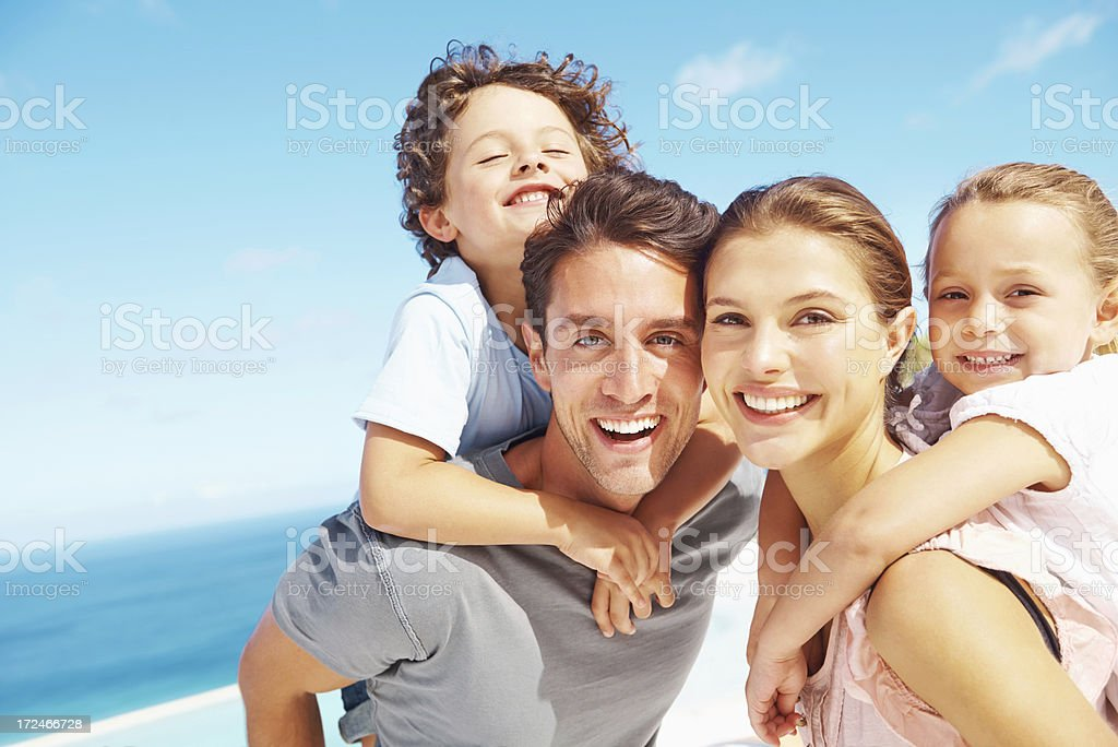 This is the best family vacation ever! royalty-free stock photo