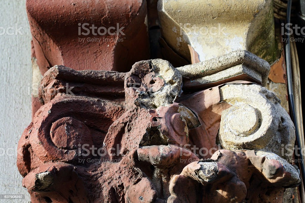 Corroded old ionic capital decoration Victorian London stock photo