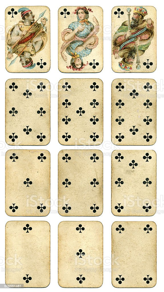 Clubs suit Four Continents playing cards by Dondorf 1900 stock photo