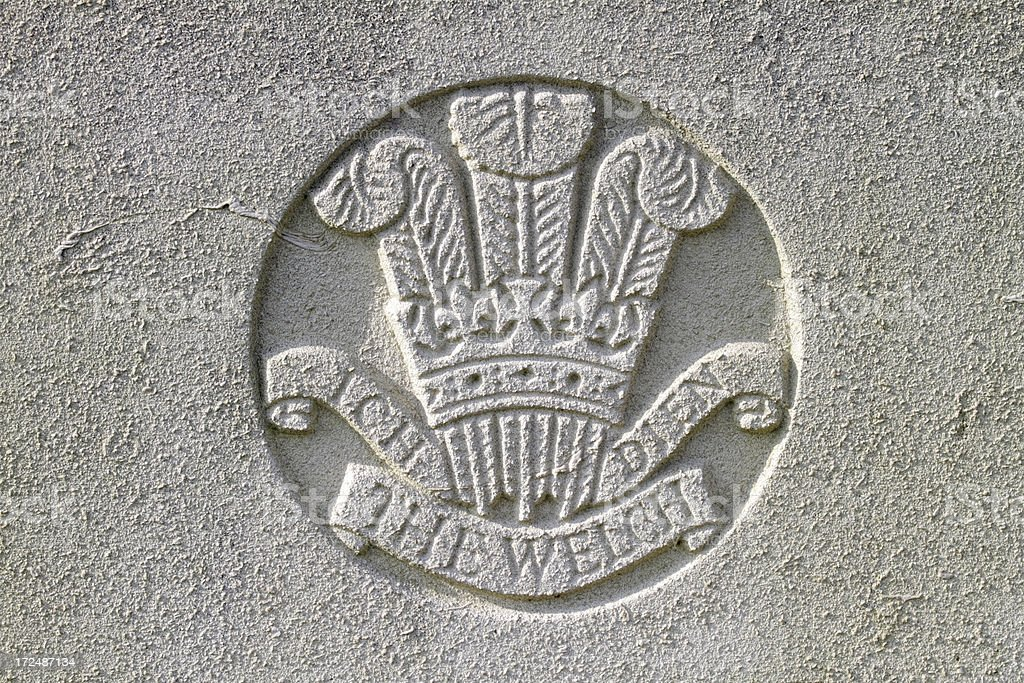 WWI military grave Insignia Prince of Wales The Welch Regiment royalty-free stock photo