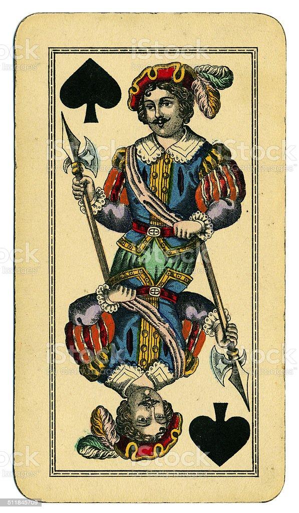 Knave of Spades playing card Tarot Austrian Tarock 1900 stock photo