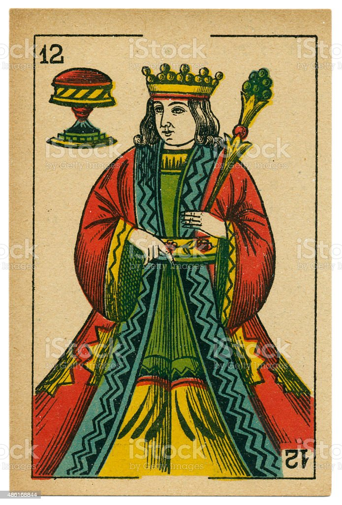 Copas king playing card baraja 19th century 1878 stock photo
