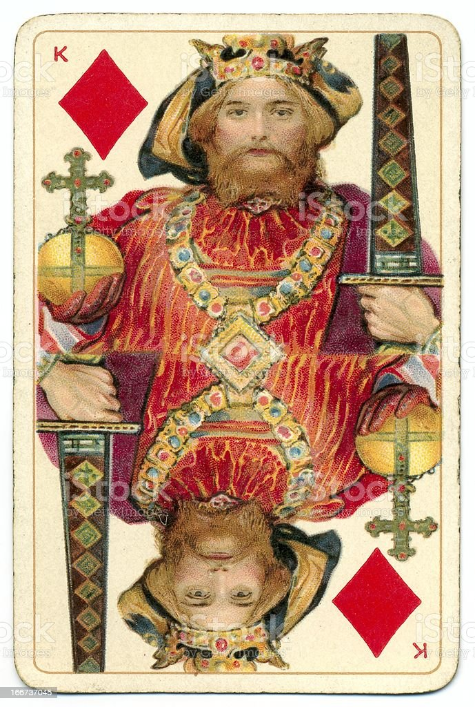 King of Diamonds Dondorf Shakespeare antique playing card stock photo