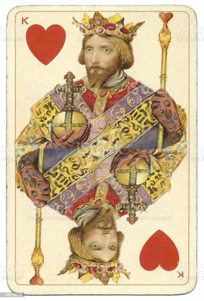 King of Hearts original Shakespeare antique playing card stock photo