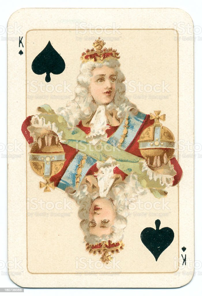 Hanoverian King of Spades playing card Goodall 1895 vector art illustration