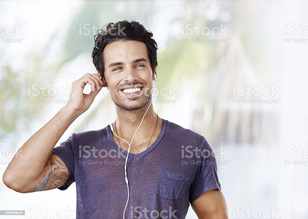 This is the perfect playlist for my run stock photo