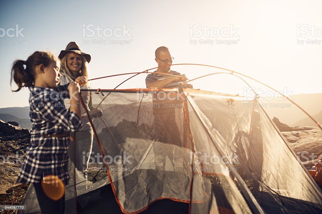 This is the perfect spot to pitch our tent stock photo