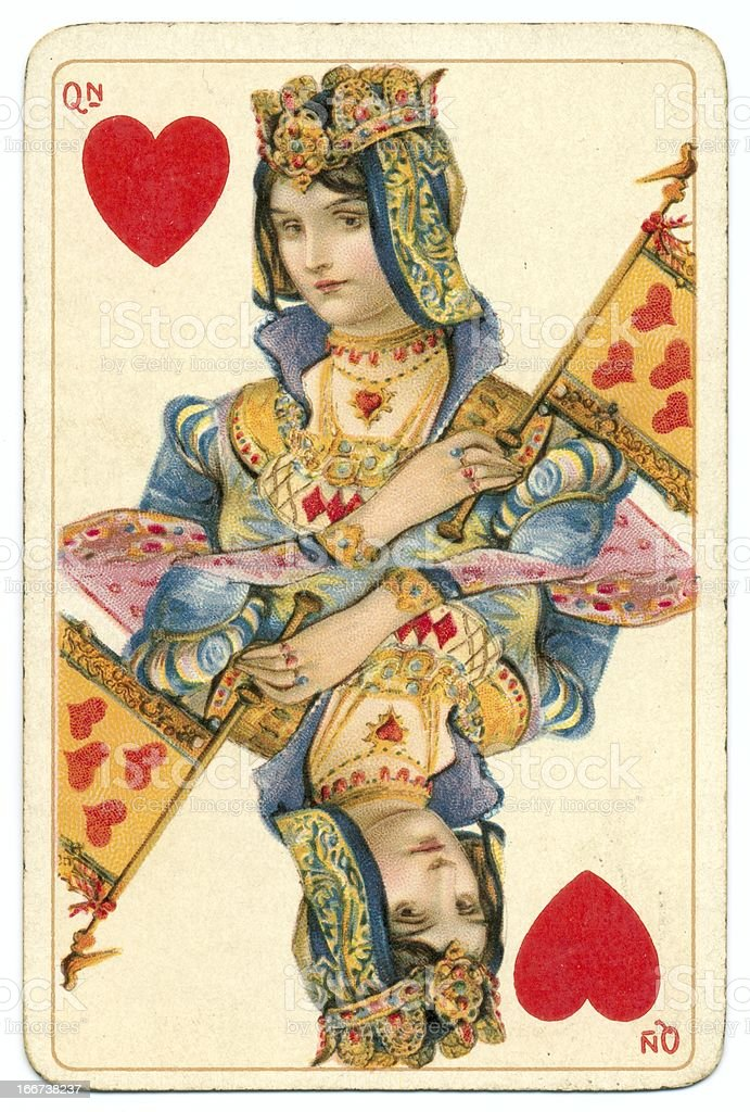Queen of Hearts rare Shakespeare antique playing card stock photo
