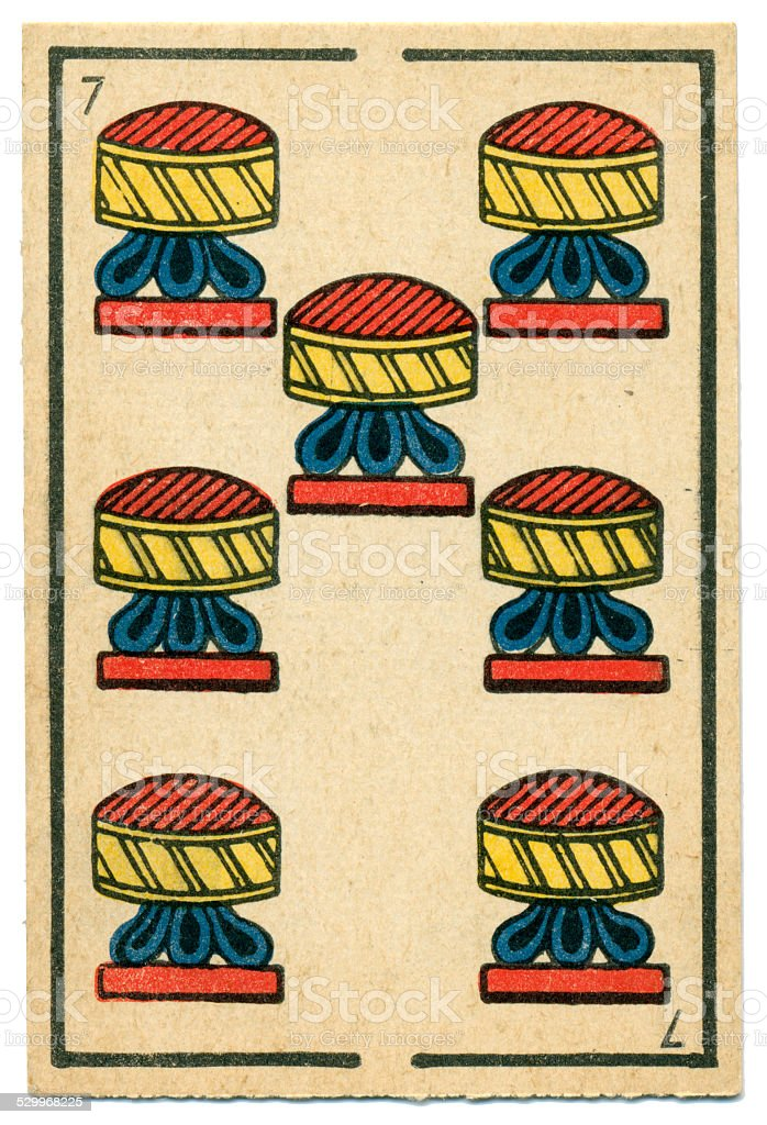 Moroccan playing card baraja 1890 Seven of Hearts Cups stock photo