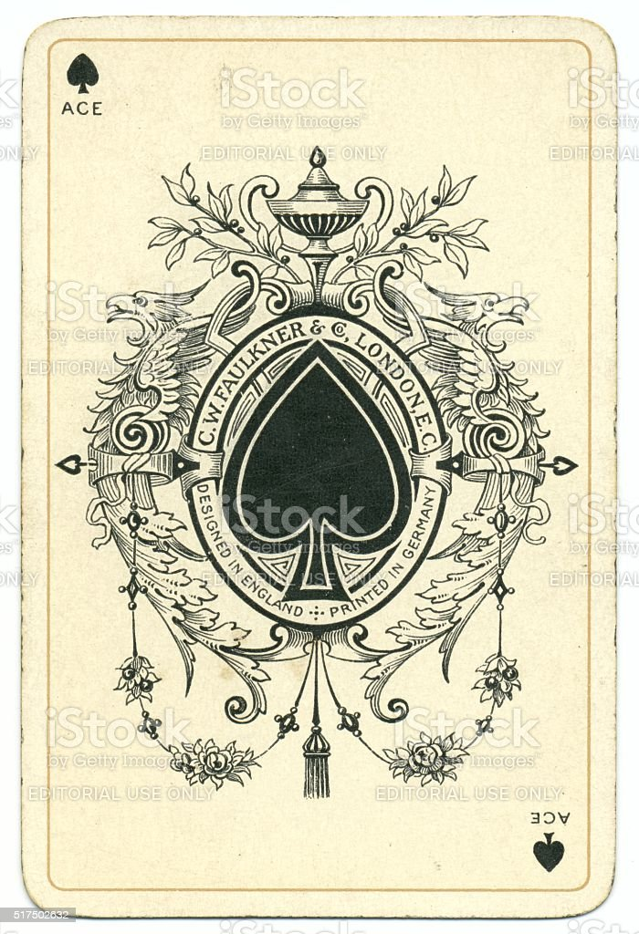 Dondorf Shakespeare 1895 ace of spades antique playing card stock photo