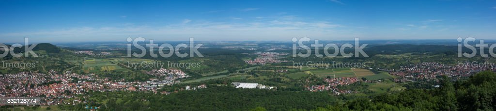 This is the view from the viewpoint of Burg Hohenneuffen on a summer day stock photo