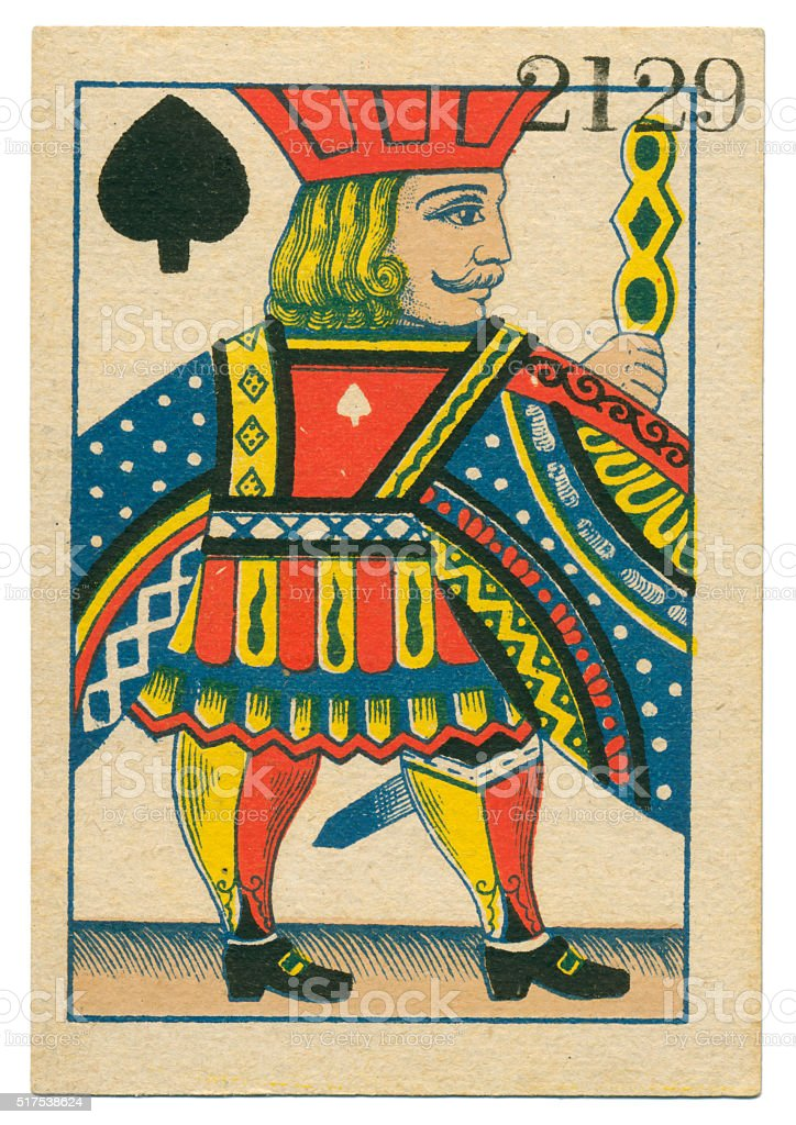 Jack of Spades playing card standing court Belgium 1860 stock photo
