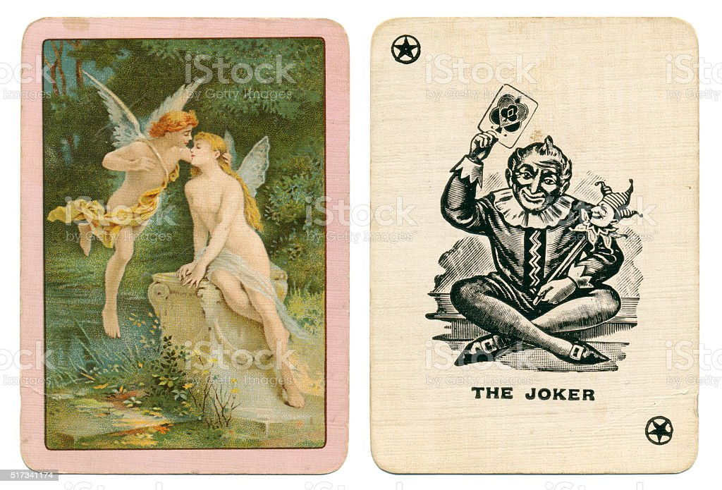 Joker playing card plus back fairies kissing Goodall 1890s stock photo