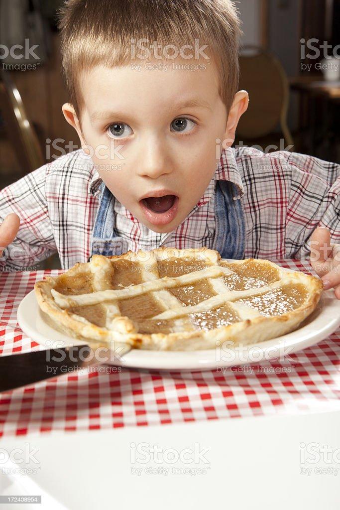 This kid loves sugar pie stock photo