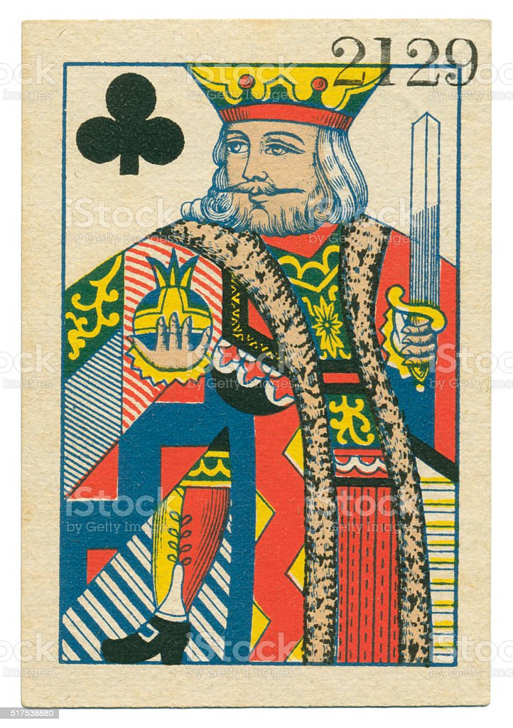 King of Clubs playing card standing court Belgium 1860 stock photo