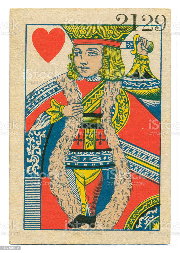 King of Hearts playing card standing court Belgium 1860 stock photo