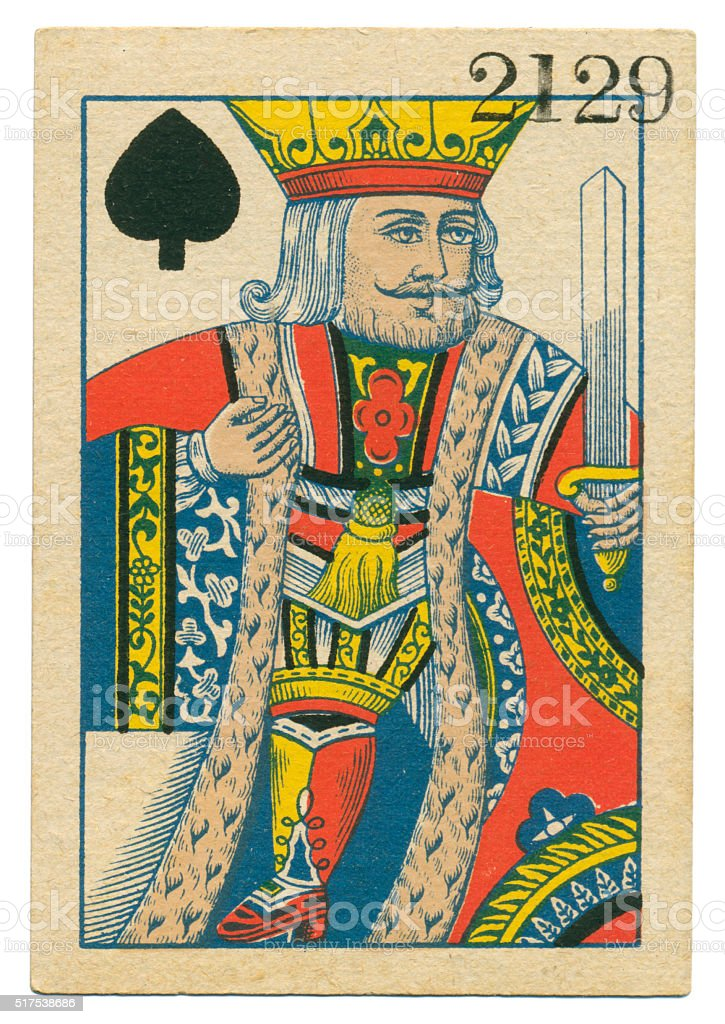 King of Spades playing card standing court Belgium 1860 stock photo