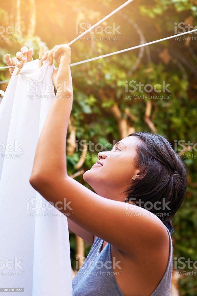 This laundry will dry in no time stock photo