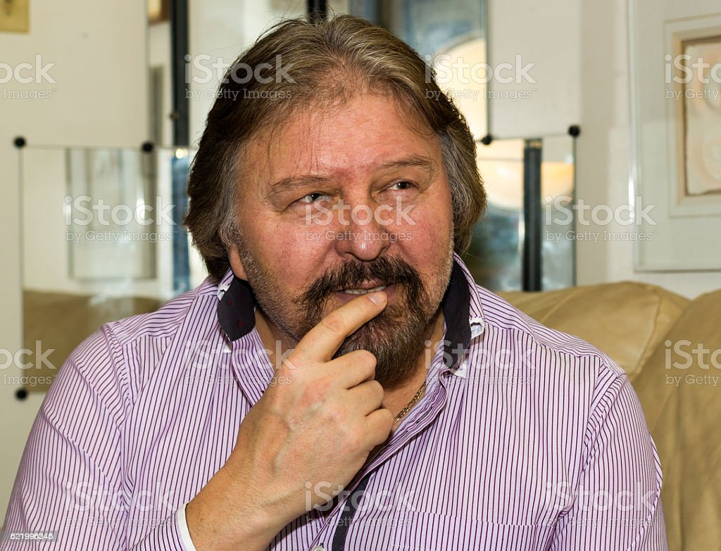This man is thinking really hard. royalty-free stock photo