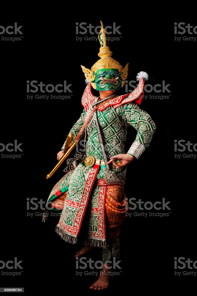 This mask dance drama of Thailand call Khon. stock photo
