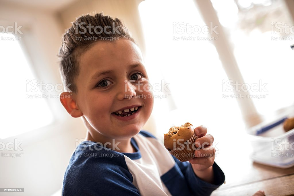 This muffin is yummy! stock photo
