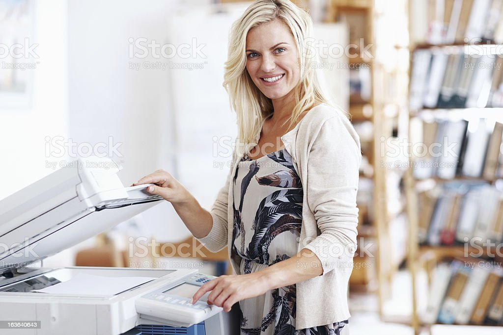 This photocopier is so easy to use! stock photo