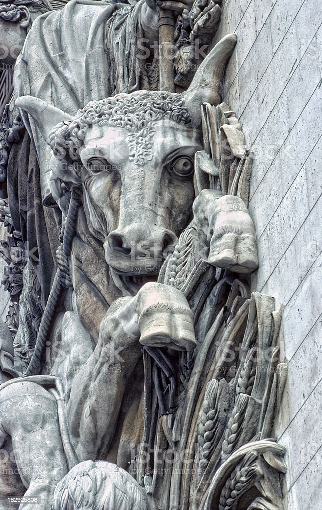 Bull detail on Arc de Triomphe in Paris France royalty-free stock photo