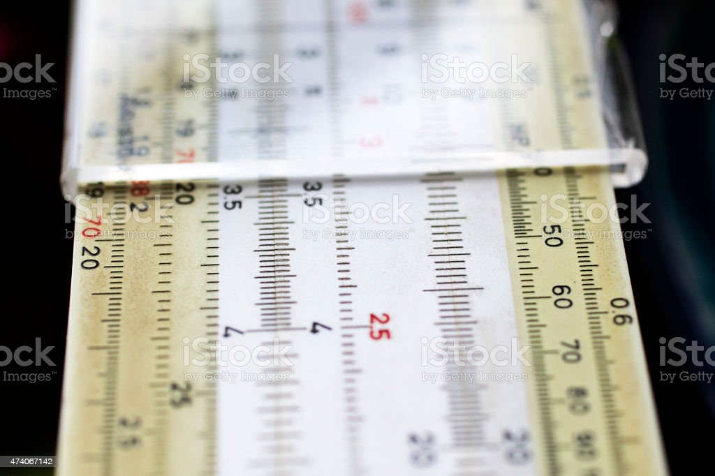 Student slide rule from the 1960s stock photo
