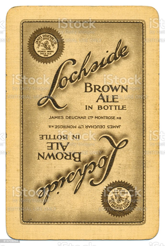 Playing card back alcohol advertising Lochside brown ale 1950s stock photo
