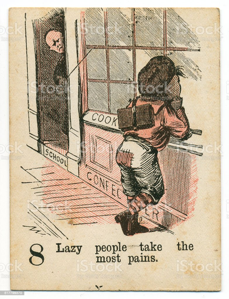 Playing card 1890s Victorian proverb laziness taking care stock photo
