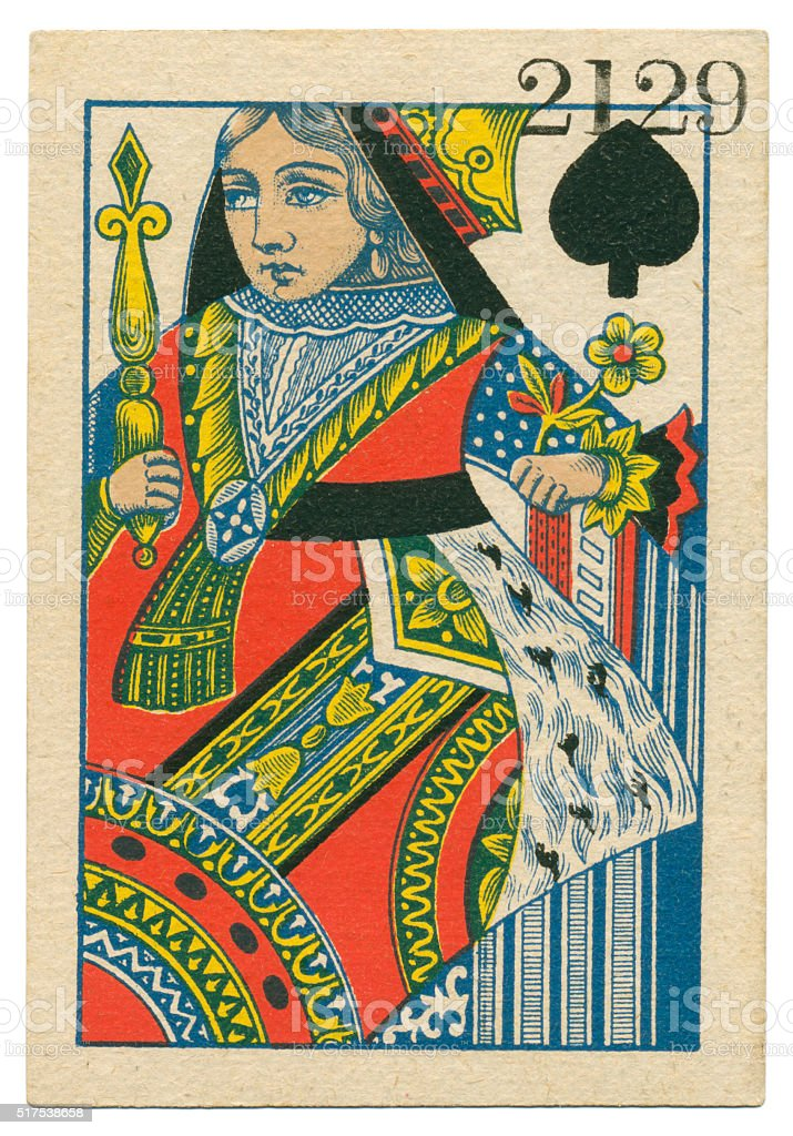 Queen of Spades playing card standing court Belgium 1860 stock photo