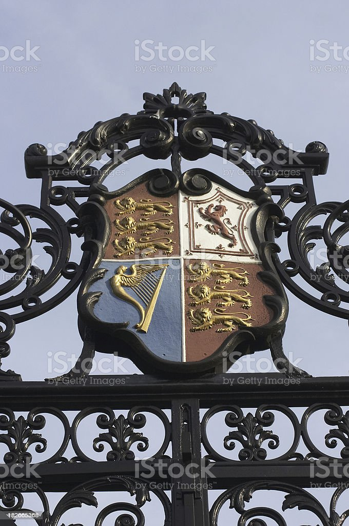 Royal coat of arms atop Cremorne Gate Chelsea stock photo
