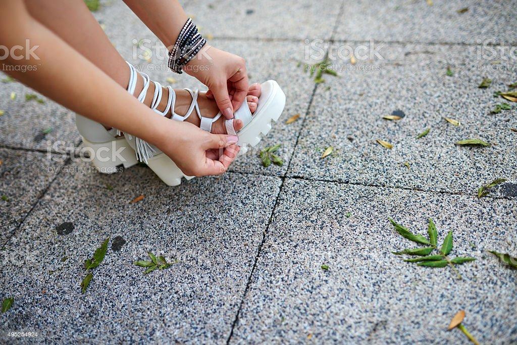 this sandals make my finger callus stock photo