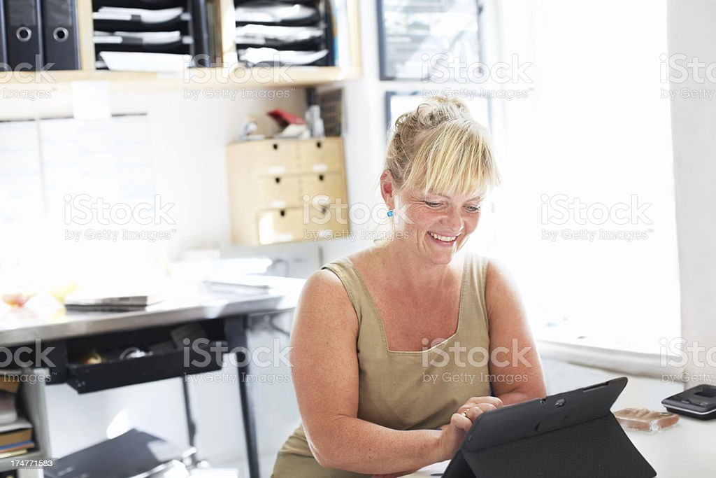 This secretary welcomes modern technology royalty-free stock photo