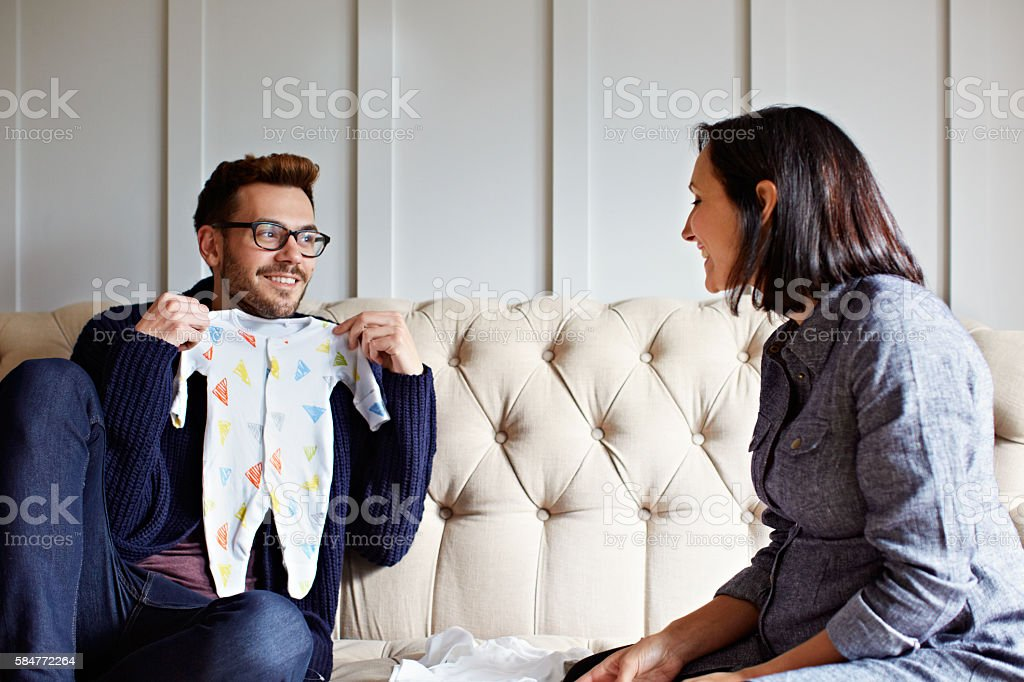 This should be our baby's first outfit stock photo