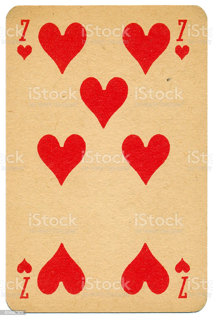Stylish Seven of Hearts Biermans playing card Belgium 1910 stock photo