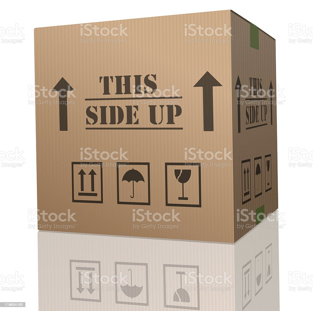 this side up cardboard box stock photo