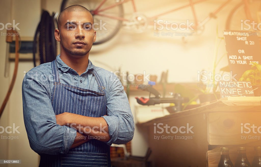 This store runs on big ambition stock photo