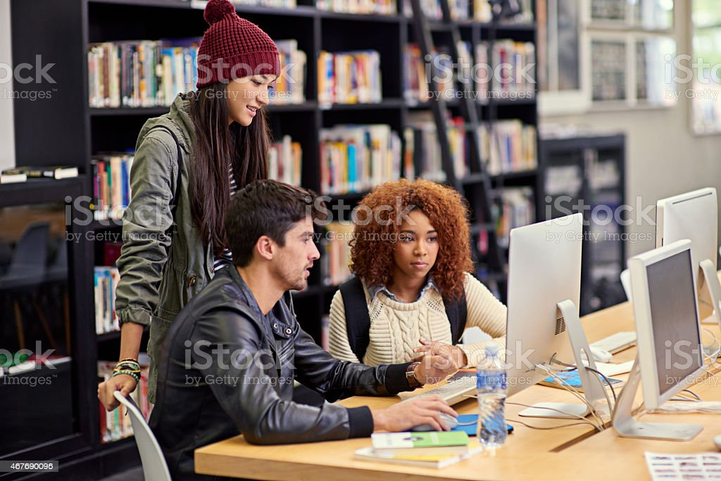 This study group knows what they're doing stock photo