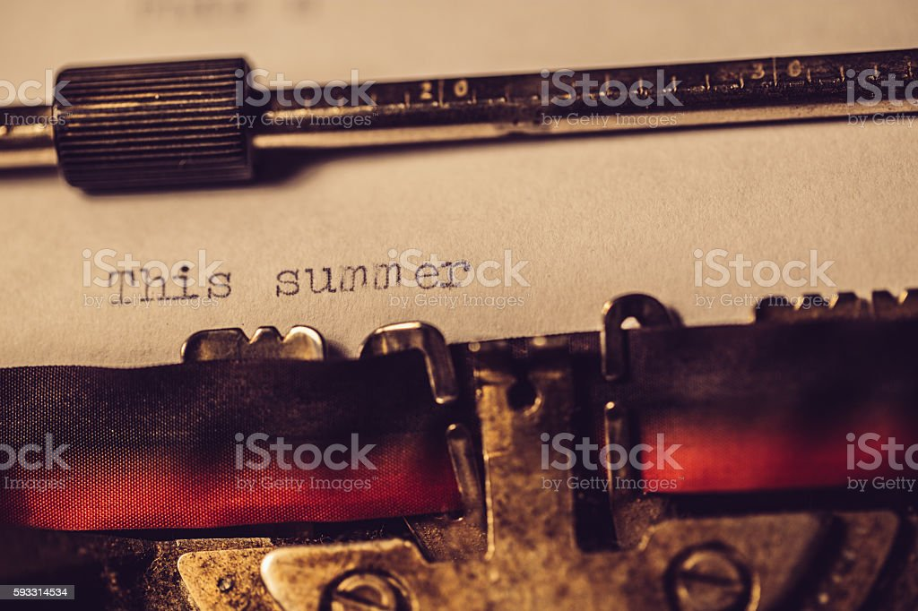 'This summer' typed using an old typewriter stock photo