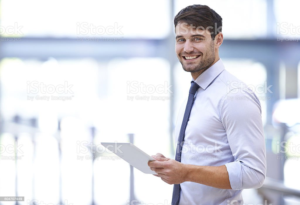 This tablet exceeds my expectations stock photo