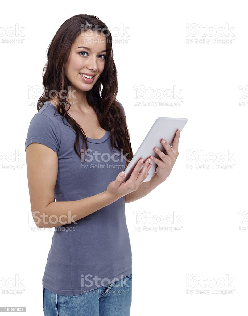 This tablet is amazing! royalty-free stock photo