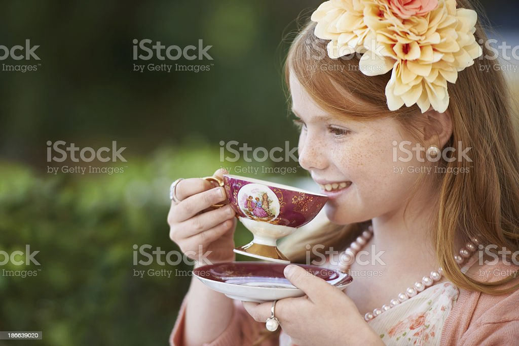 This tea party is really fun stock photo