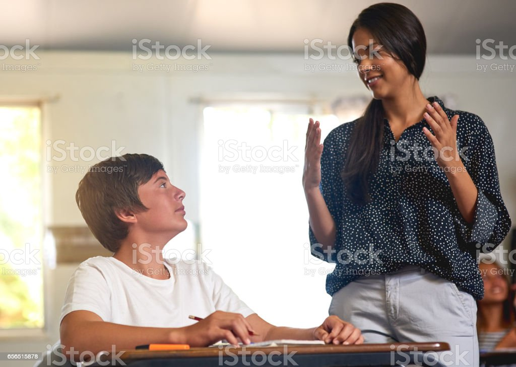 This teacher has all the answers stock photo