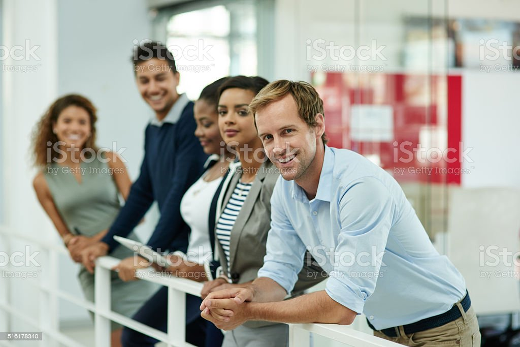 This team aims to succeed! stock photo