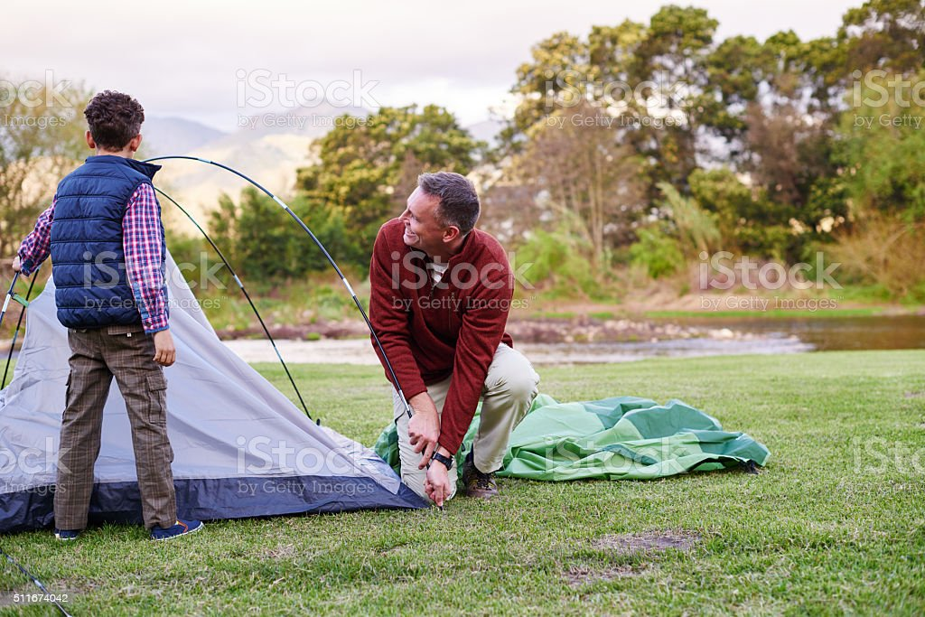 This tent is coming together now! stock photo