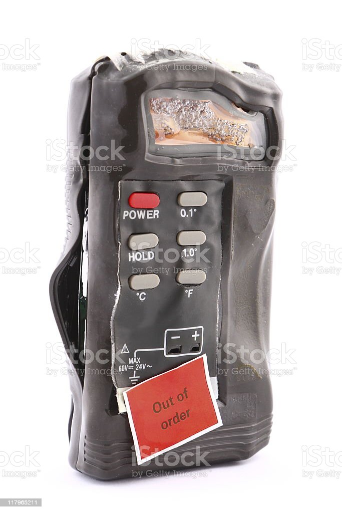 This thermometer has reached its melting point! stock photo